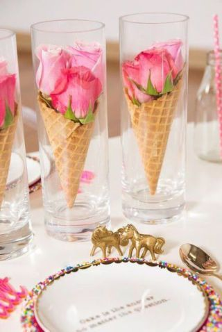 Multi-toned roses arranged in waffle cones make for the most delicious floral arrangement we've ever seen. Get the tutorial at Bride and Breakfast