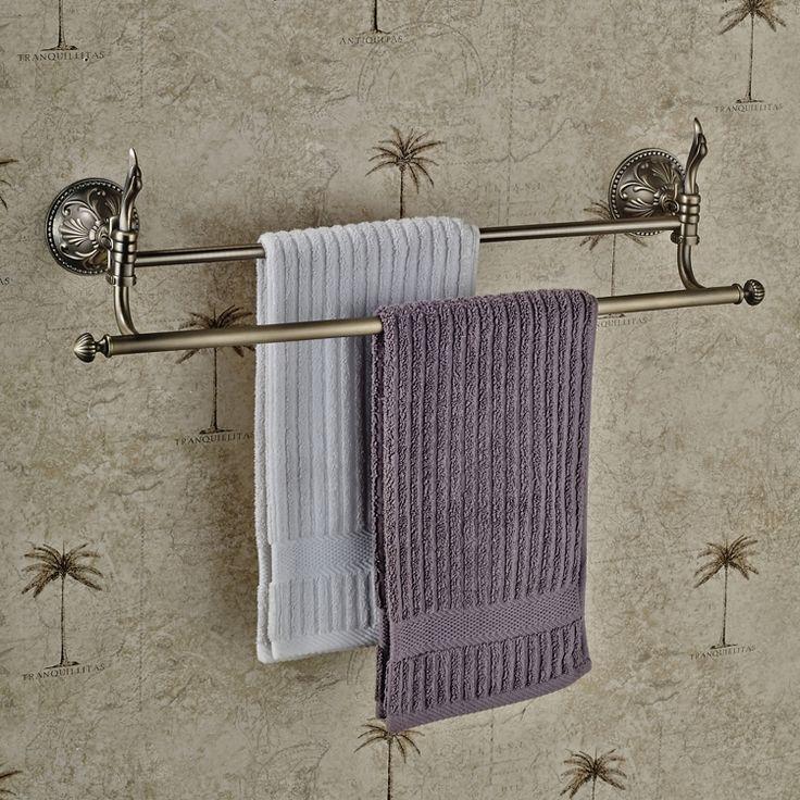 45.00$  Watch here - http://alicjo.shopchina.info/go.php?t=32708702477 - European Double Bar Towel Rack Retro Towel Bar Bronze Drawing Towel Rack, Bathroom Pendant  Bathroom Accessories  #SHOPPING