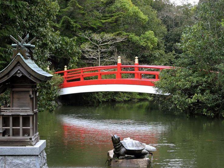 Red bridge at Izanagi Shrine