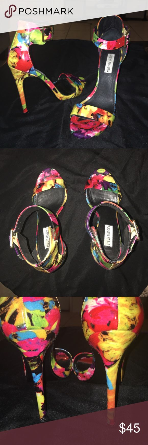 Steve Madden. Vibrant floral strappy Heels Barely worn floral Heels.  Size 9 Steve Madden Shoes Heels
