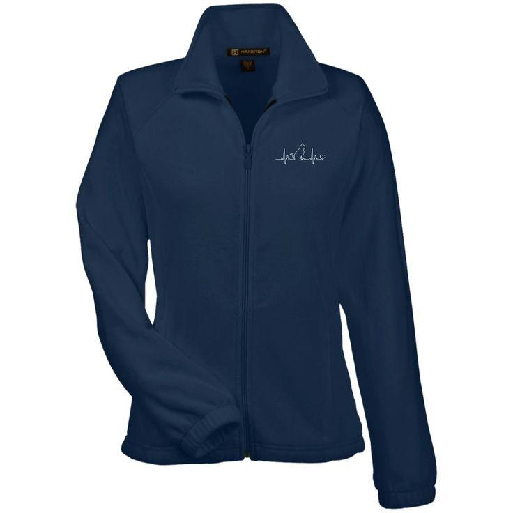 Cat Heartbeat Embroidered Ladies' Fleece Full Zip Jacket