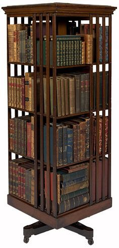 Revolving bookcase belonging to David Scott Mitchell, major benefactor of the State Library of New South Wales, 1907. Find more detailed information about this photograph: http://www.sl.nsw.gov.au/events/exhibitions/2007/dsmitchell/images/4.html#  From the collection of the State Library of New South Wales: www.sl.nsw.gov.au