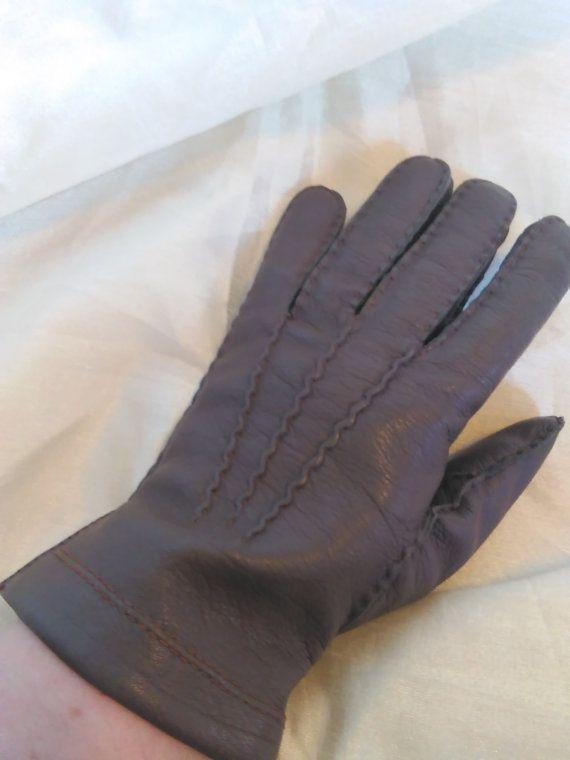 Vintage Mens Brown Leather Gloves Brown Gloves Leather