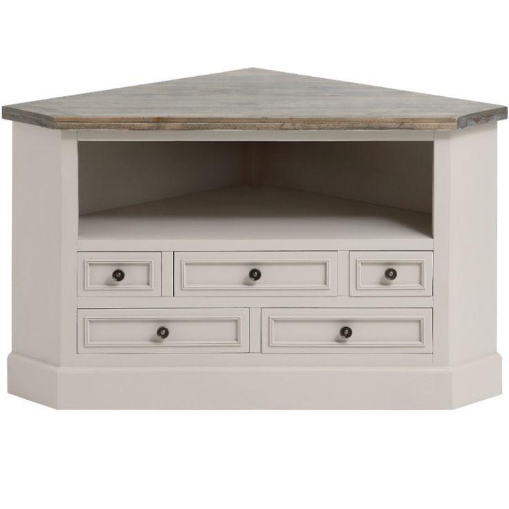 Mushroom Grey Painted Corner TV Cabinet – Allissias Attic & Vintage French Style