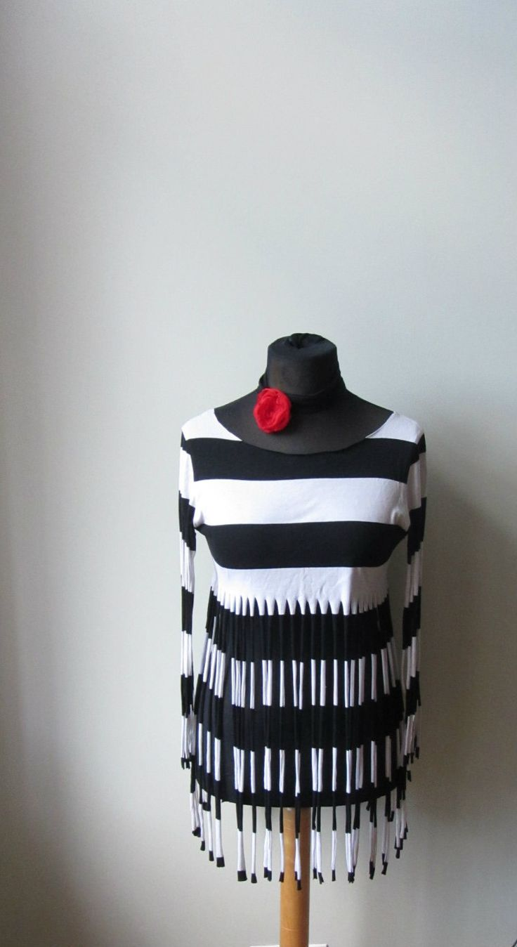 Black and White Striped Fringe Tunic, Upcycled T-Shirt, Fringe Festival Top, Extra Long Fringe T Shirt, Altered Clothes, Recycled Fashion by GarageCoutureClothes on Etsy