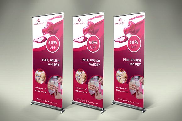 Nails Roll-Up Banner - SK by UNIK Agency  #presentation #presentations #template...