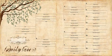 Free Printable Family History Chart | Family Tree/Pedigree Scrapbook Paper | MonsterMarketplace.com