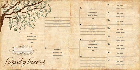 Free Printable Family History Chart   Family Tree/Pedigree Scrapbook Paper   MonsterMarketplace.com