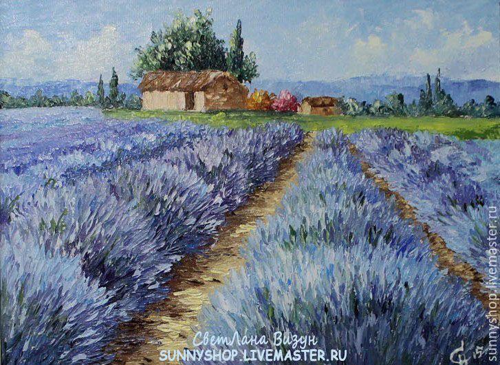 """Купить Картина маслом """"Прованс. Пейзаж с лавандой"""" - голубой, сиреневый, картина маслом"""