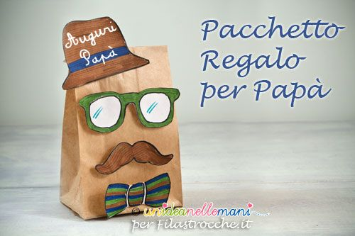 Festa del papà lavoretti: tutorial con foto e spiegazioni per fare un simpatico pacchetto regalo con la carta e disegni da colorare