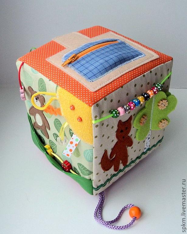 """Развивающие игрушки ручной работы. Ярмарка Мастеров - ручная работа Развивающий кубик по мотивам сказки """"Колобок"""". Handmade."""