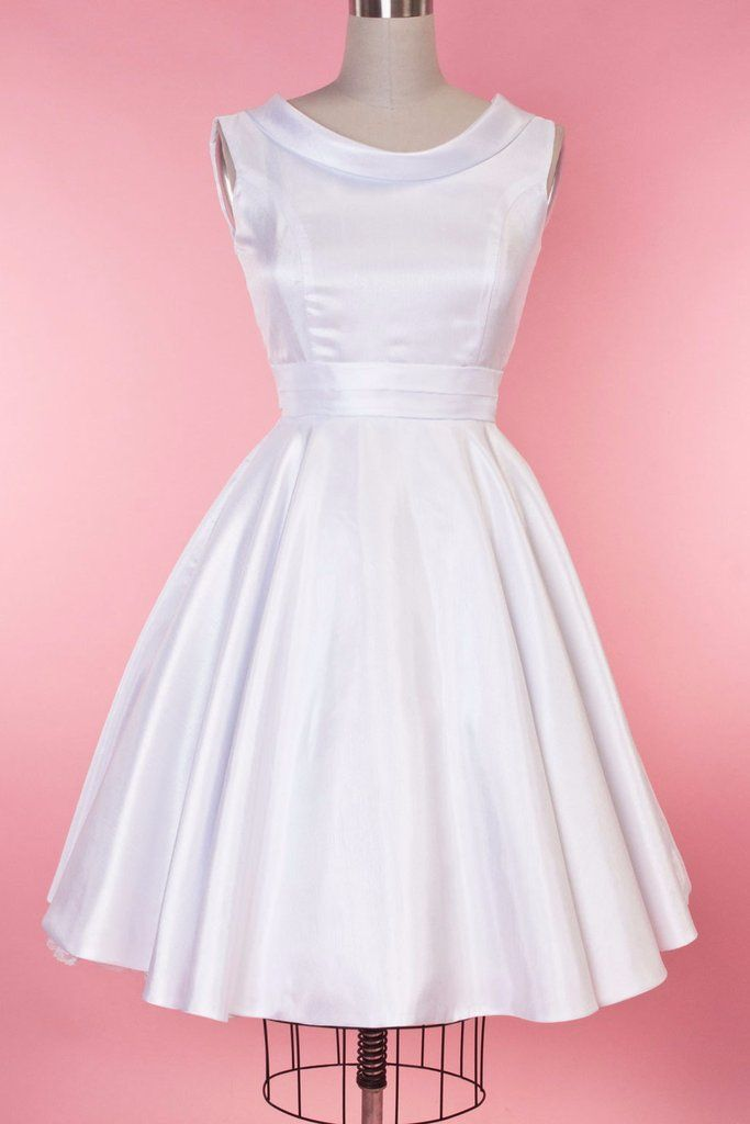 1950s Style Wedding Dresses BP Suzette Dress - White Shantung  AT vintagedancer.com