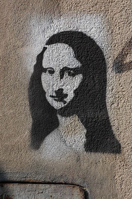 street art stencils | Szeged street art -- Stencil -- Mona Lisa