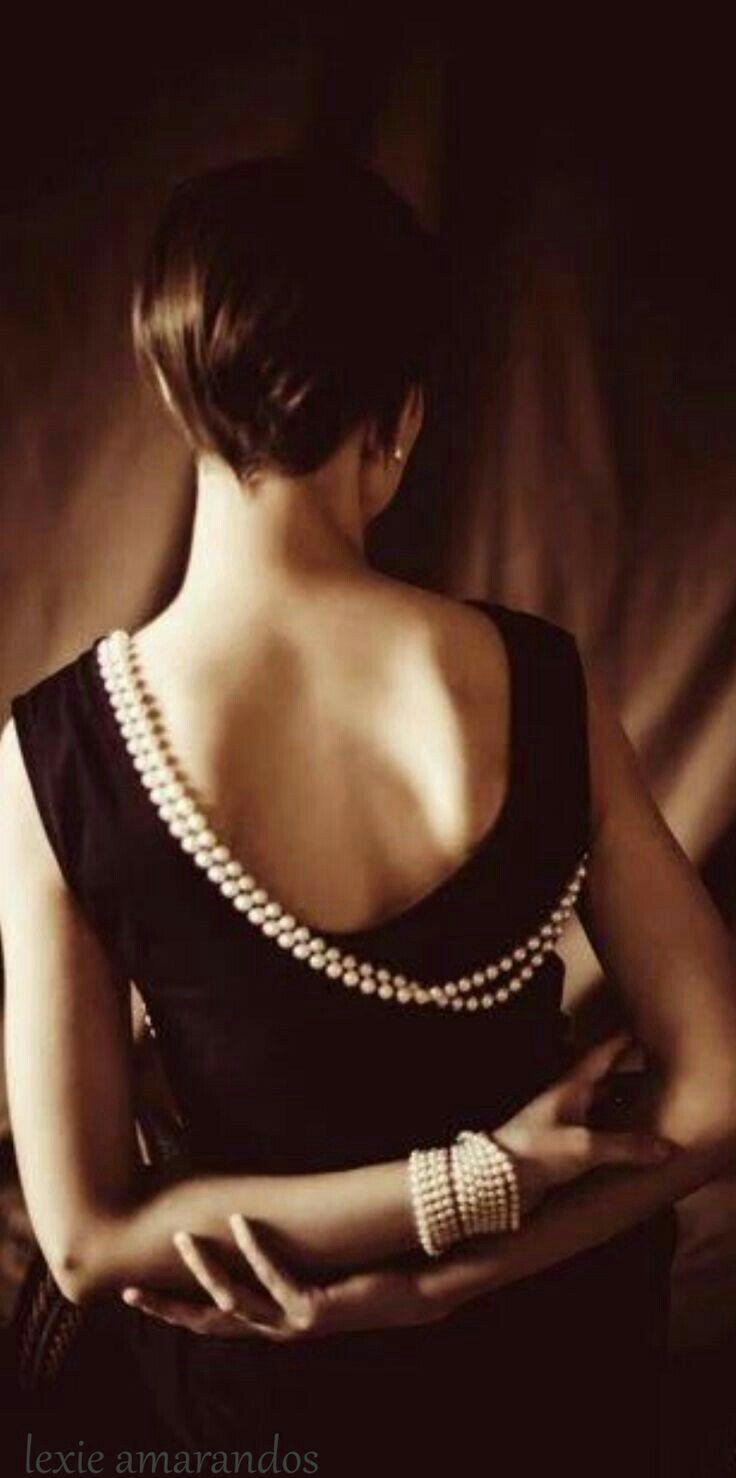 BLACK  DRESS # PEARLS