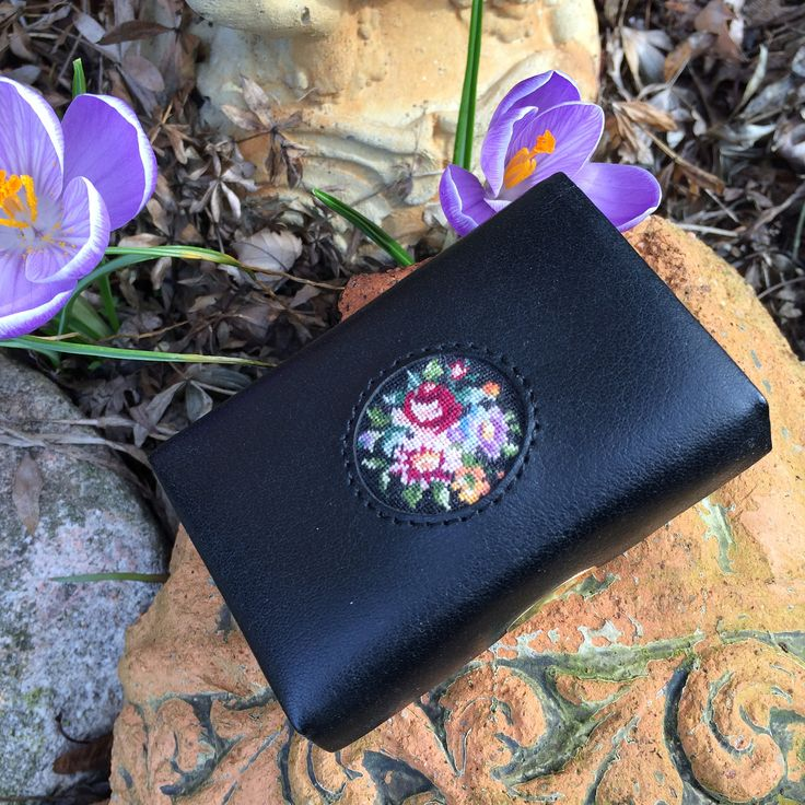 Gorgeous vintage lipstick case, petit point leather, velvet lining, mirror inside, Gorgeous, travel case, lipstick holder, petit point case by TwoSwansSwimming on Etsy