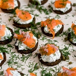 smoked salmon with cream cheese, dill and capers on pumpernickel. Link ...
