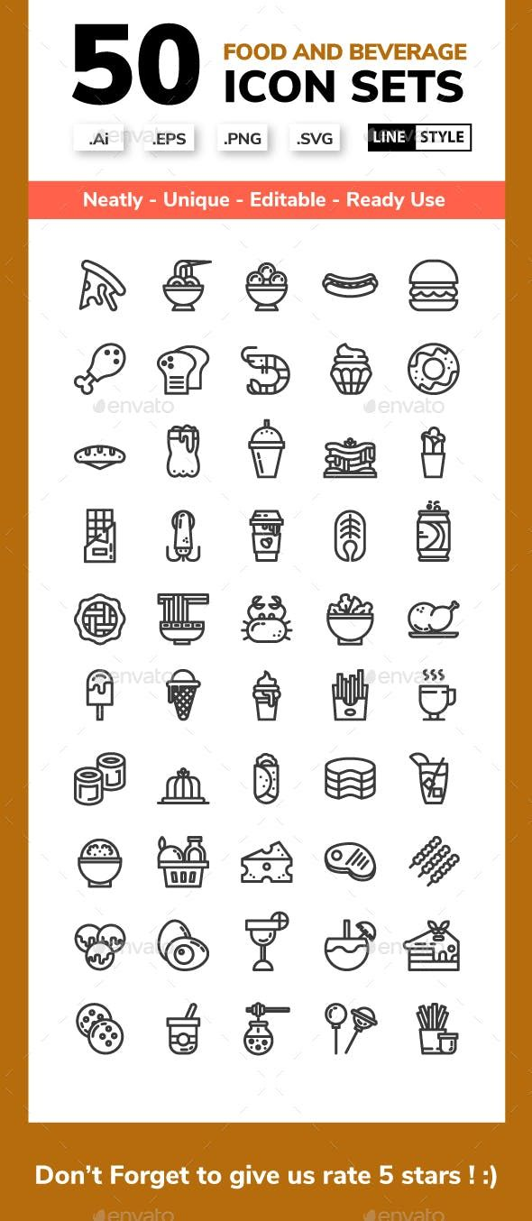 Food And Beverage Line Icon Set Icon Set Drink Icon Icon