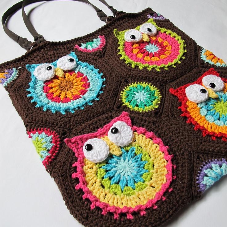 Crochet Pattern For Owl Bag : CROCHET PATTERN - Owl Toteem - a colorful crochet owl ...