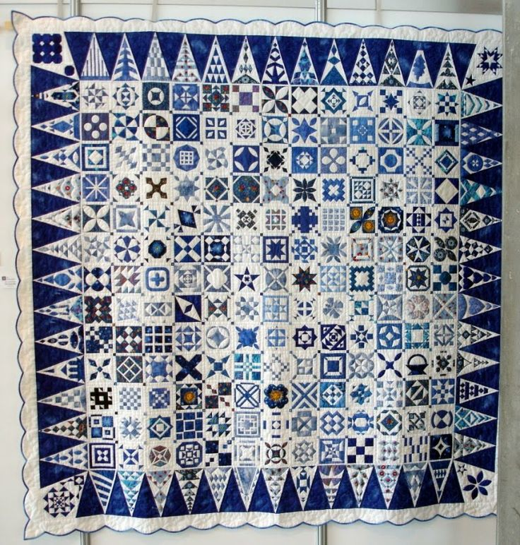 """blue dear jane - 169 5"""" squares, 52 border triangles and 4 corner blocks. A total of 5602 pieces!!"""
