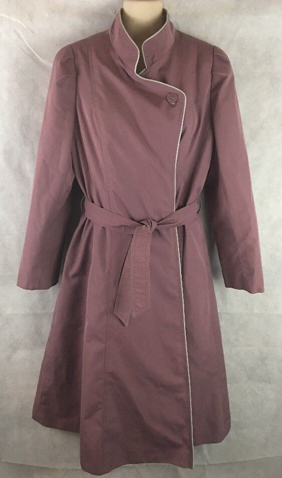 J. Gallery Plum Purple Trench Coat Jacket Belted W/ Zip Out Liner Size Small #JGallery #Trench