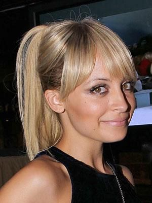 Nicole Richie's high ponytail with bangs