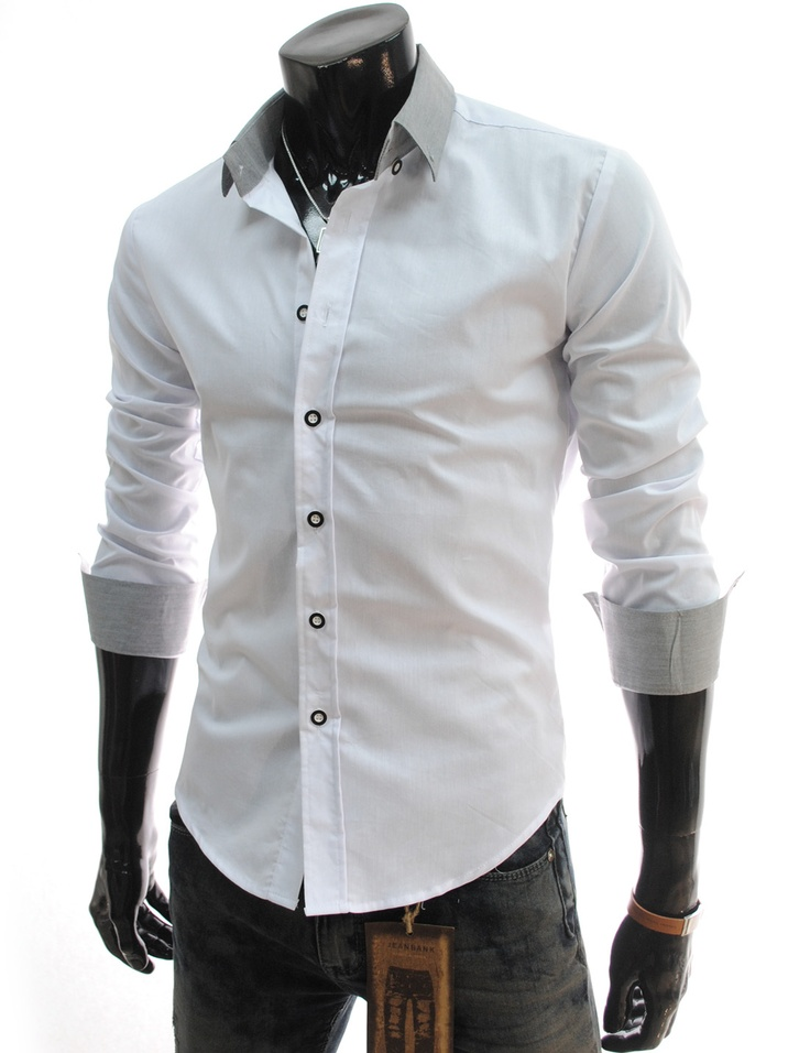 Different color collar dress shirt
