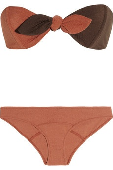 Poppy textured bandeau bikini by Lisa Marie Fernandez