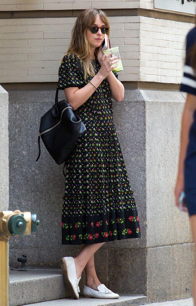 Dakota Johnson wearing the Black Backpack
