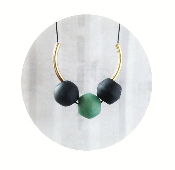 Clay necklace in black and jade green gold toned by CloudPearls, €17.00