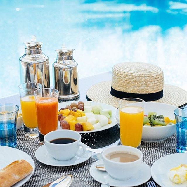 Moroccan breakfast by the pool @disicouture style  #morocco #breakfast #pool #summer #holiday #adventure #boho #beachlife #pooltime #healthy #coffee #weekend #poolday #hotel #beautifuldestination #marrakech #butfirstcoffee #swimwear #relax #lamamounia #neverendingsummer #sunshine #swim #summerfun