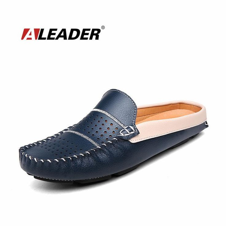 Mens Leather Shoes Loafers Summer Genuine Leather Slip on Slippers Shoes Casual Loafers for Men Flats