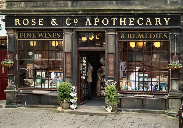 Rose & Co. Apothecary, Haworth, Yorkshire.  Visit on our tour, departing from London this summer! http://www.cambrialiterarytours.co.uk/the-brontes/