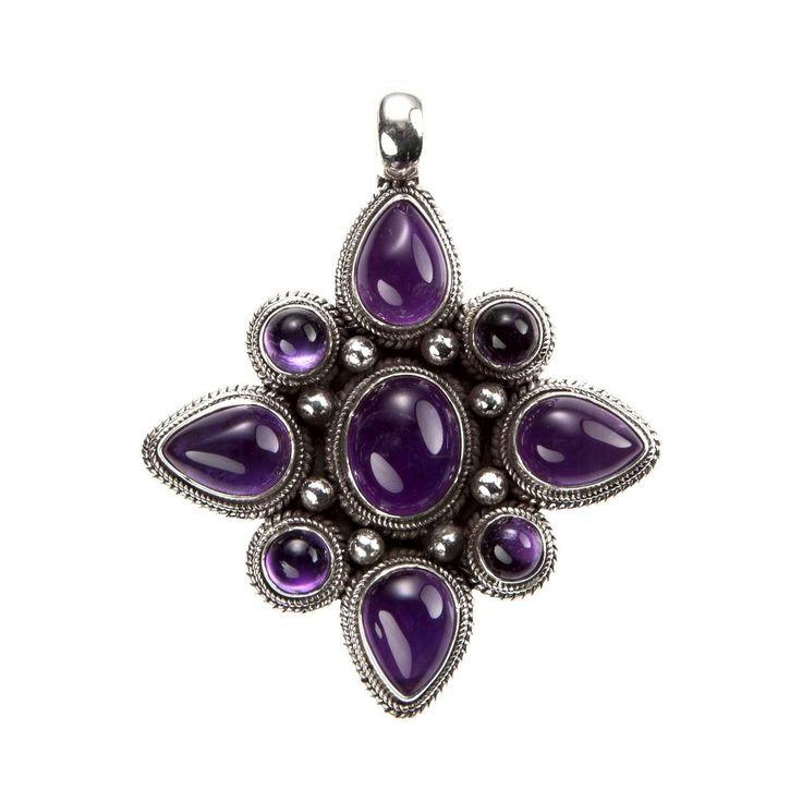 Pandantiv amuletă mandala, argint și ametist violet intens, Nepal