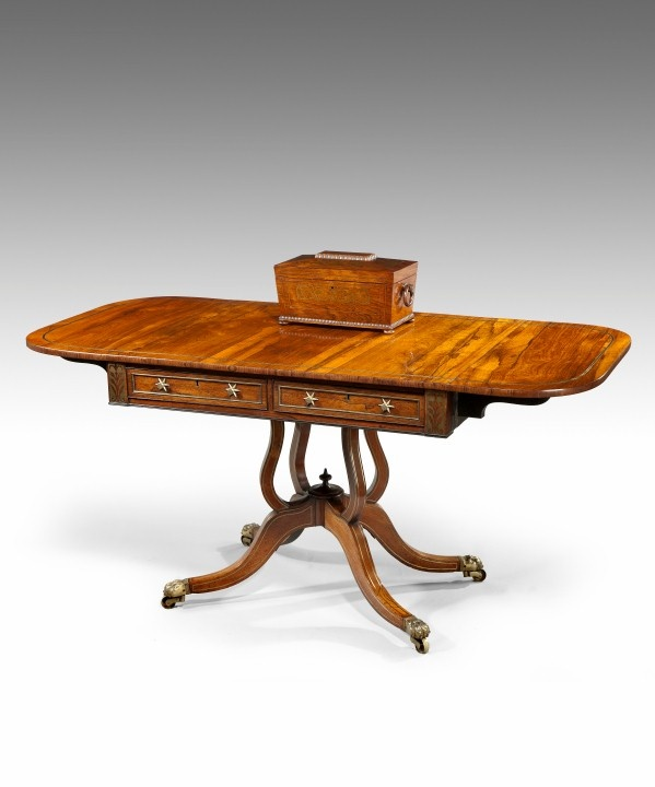 A Regency Period Rosewood Veneered And Brass Inlaid Sofa Table Circa 1820 Ref