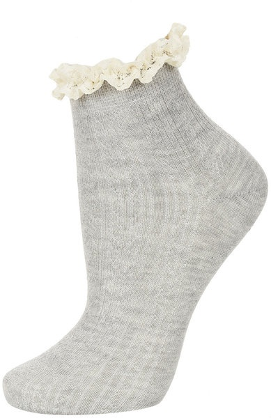 Grey Cream Lace Trim Socks - Lyst