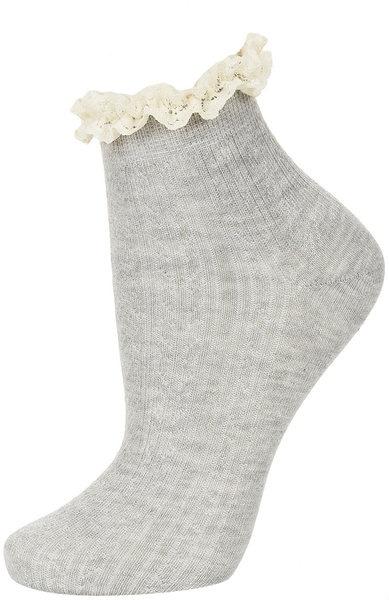 Grey Cream Lace Trim Socks - Lyst