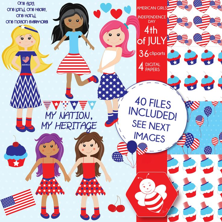 American Girls, 4th of July, Fourth of July, commercial use, vector graphics, digital clip art, digital images, DP0028 by Sweetdesignhive on Etsy