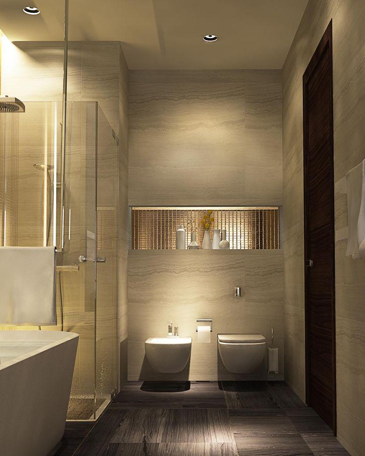 Nis met indirecte verlichting boven toiletten gecombineerd met mozaïek of steentapijt?