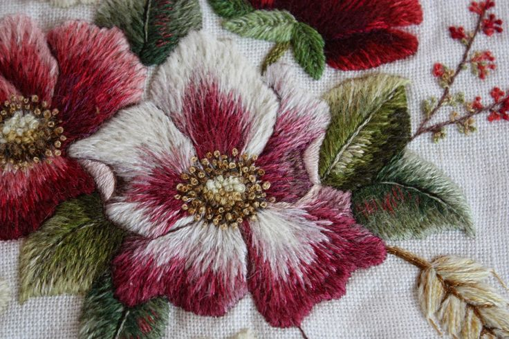 dog rose embroidery - Google Search