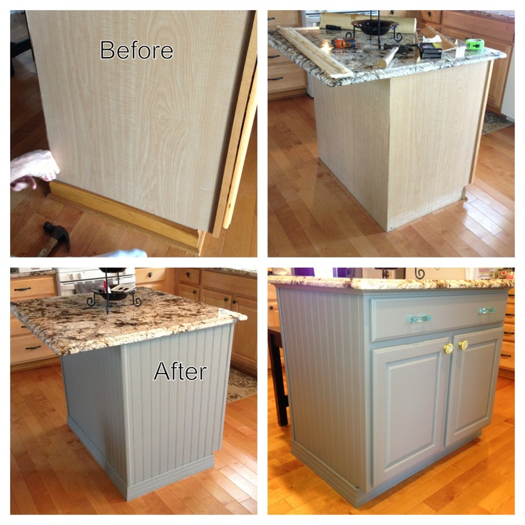 Kitchen Island DIY Project   Bead Board, Paint And Trim Purchased At Lowes.  Hardware