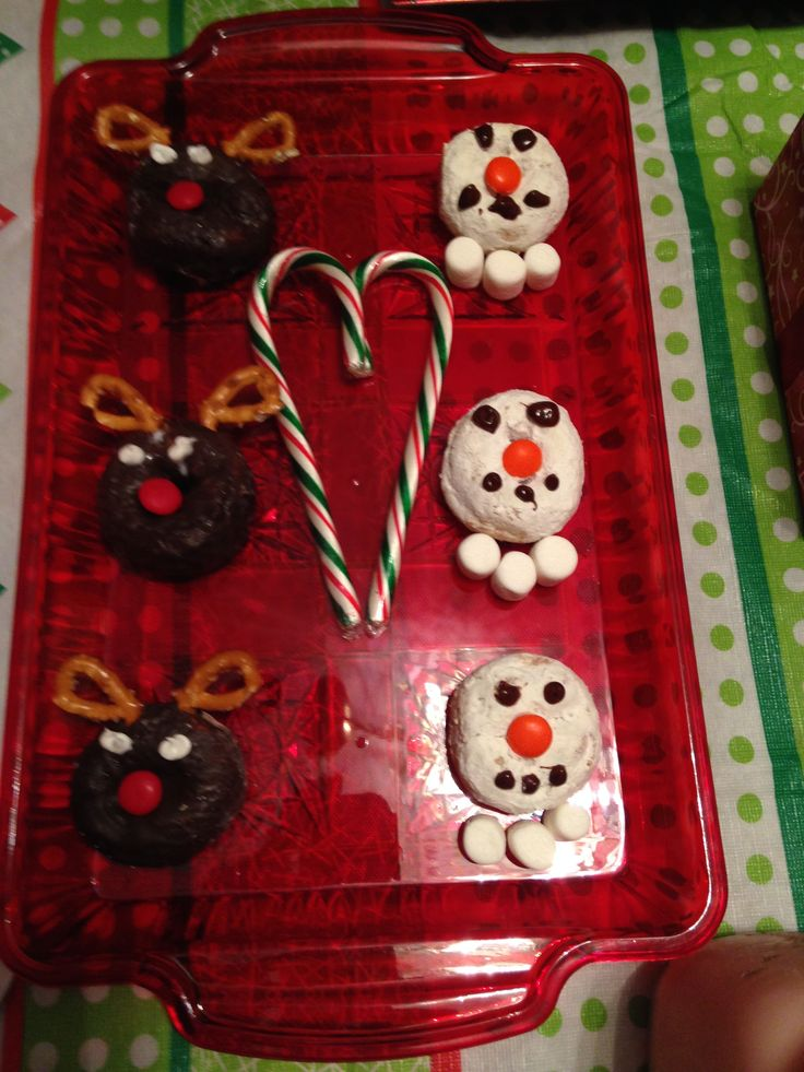 Day 1-North Pole Breakfast. Snowman and reindeer donuts.