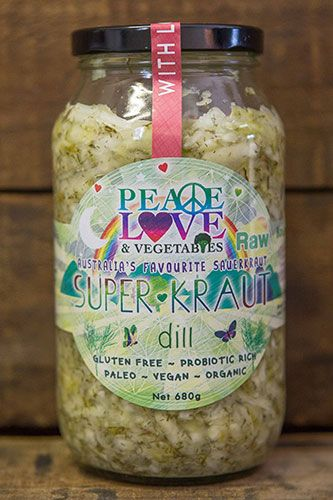 The very first product to grace the Peace, Love and Vegetables company was our Dill Superkraut. A little more traditional in its nature, the dill kraut is a gentle yet flavorsome combination of cabbage, dill and caraway seeds, offering a kraut that is high in calcium, iron, vitamins, magnesium and antioxidants.