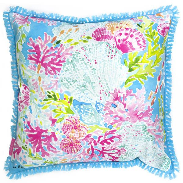 Lilly Pulitzer Large Throw Pillow in Coral Cay at The Paper Store