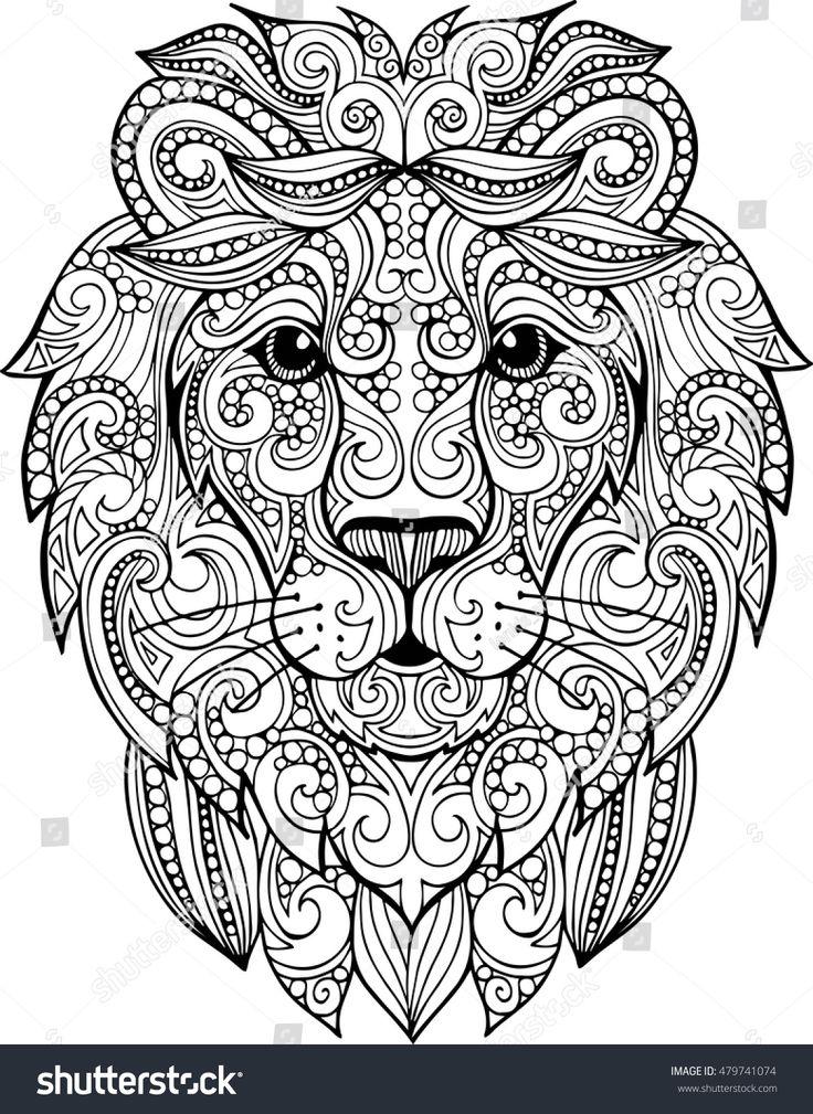 hand drawn doodle zentangle lion illustration decorative