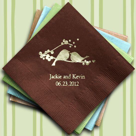 Love Birds Printed Wedding Napkins (25 Colors) (Wedding Star 9874) | Buy at Wedding Favors Unlimited (https://www.weddingfavorsunlimited.com/love_birds_personalized_napkins_24_colors.html).