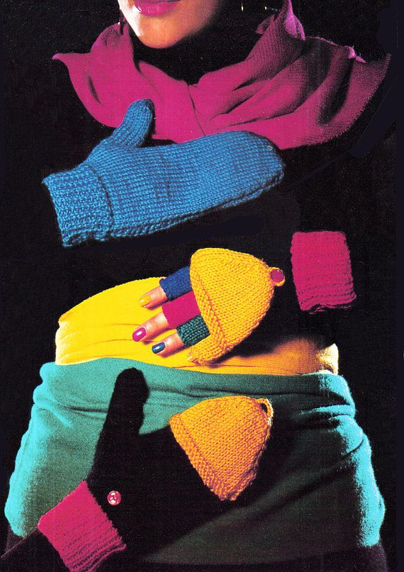 Pdf Vintage Womens  Knitting Pattern Fingerless Gloves &