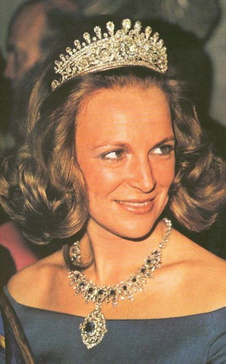 Princess Irene of the Netherlands, Duchess of Parma and wife of Carlos Hugo, Duke of Parma, wearing a diamond tiara that was once worn by the Duchess of Angouleme, belonged to the house of Bourbon Parma. The tiara was stolen in 1996.