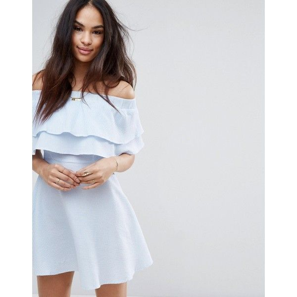 Missguided Stripe Ruffle Layer Bardot Swing Dress ($37) ❤ liked on Polyvore featuring dresses, blue, flounce dress, blue stripe dress, flutter-sleeve dress, trapeze dress and blue dress