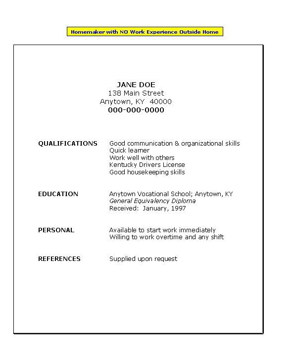 No Work History Resume Template With No Work Experience Resume For Homemak Experience History Homemak Resume Template Work