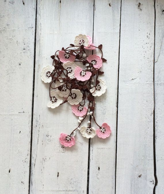 Pink White Crochet Lariat Necklace Oya Pink Flowers by ReddApple